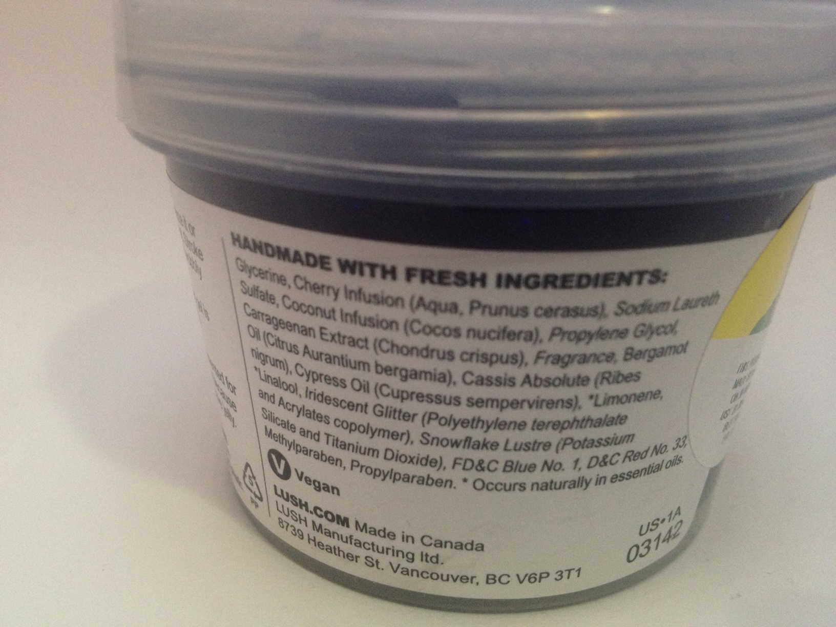 LUSH Cosmetics Sweetie Pie Shower Jelly  Ingredients
