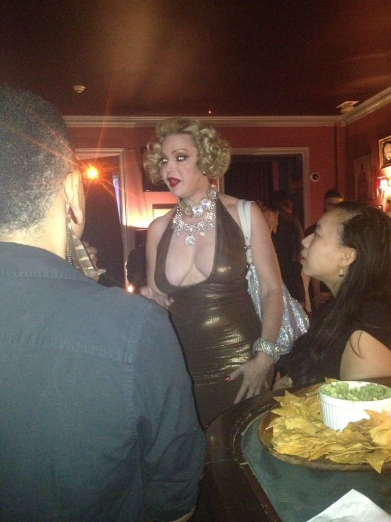 Miss Calepernia Addams addressing the crowd during the Obsessive Compulsive Cosmetics moderncraft preview